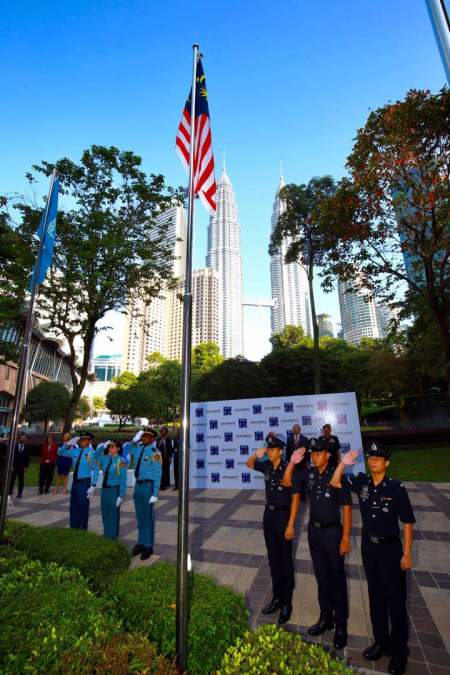 Flag-raising ceremony officially commencing WUF9 at Kuala Lumpur Convention Centre